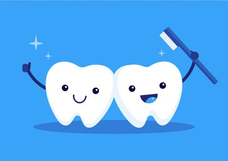 Cute happy white teeth hugging with toothbrush,  cleaning healthy concept, flat vector illustration. Çizim