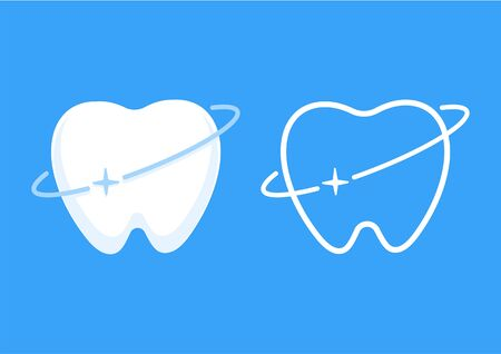 Teeth icon with round line circle shining effect, protection concept, flat vector illustration. Çizim