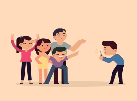 Taking photo happy smiling friends with smartphone, young people having fun concept, vector flat illustration. Çizim