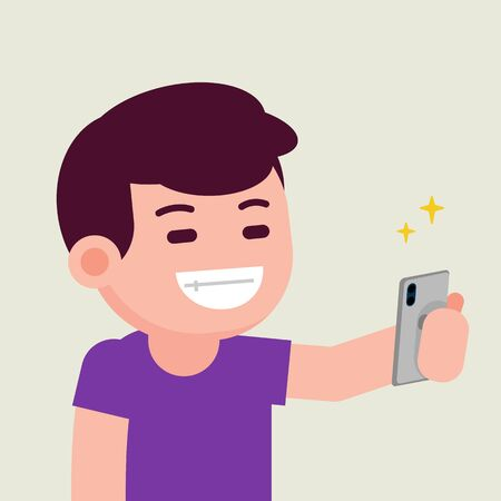 Happy smiling handsome cheerful young man taking selfie with smartphone, vector flat illustration. Çizim