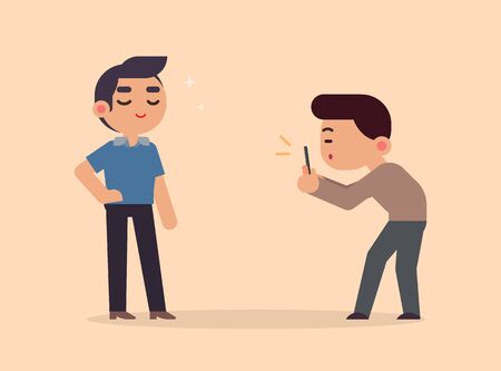a photographer takes pictures of a model handsome boy with smartphone, vector flat illustration.