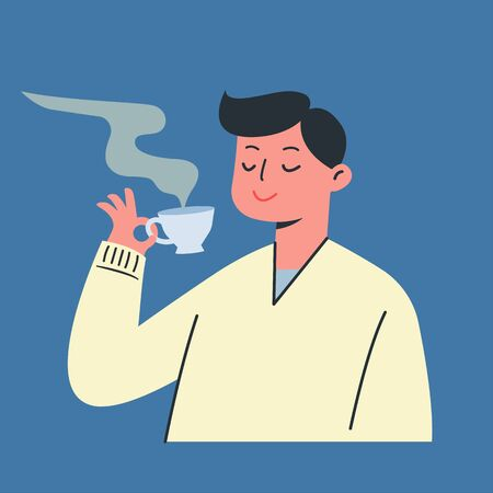 Young man is holding a cup of tea. hot coffee in winter, Vector illustration.