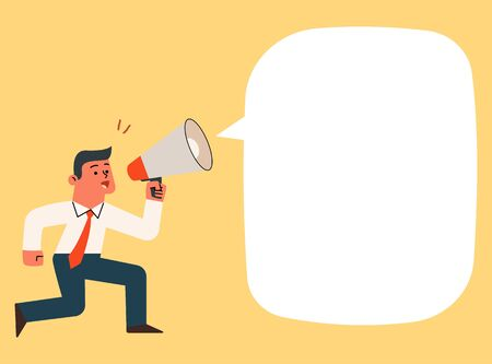 Businessman shouting and screaming with megaphone, vector cartoon illustration.  일러스트