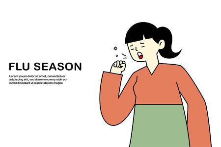 young girl coughing have flu and cold, sickness allergy concept, flat vector illustration.