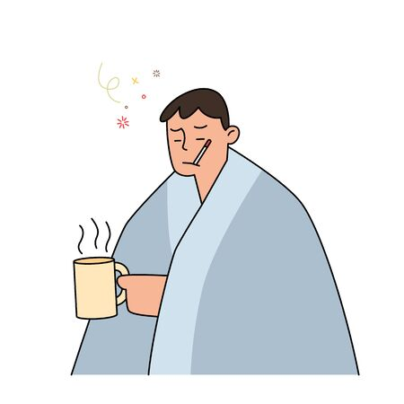 man with flu and cold under the blanket holding a hot tea and holding a thermometer in her mouth,  hand drawn style vector illustration. Çizim