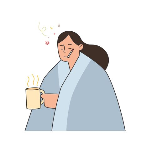 woman with flu and cold under the blanket holding a hot tea and holding a thermometer in her mouth,  hand drawn style vector illustration.