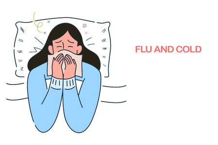 sick woman lying in bed with flu and cold under the blanket, allergy seasonal infections,  hand drawn style vector illustration.