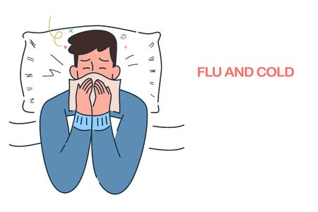 sick man lying in bed with flu and cold under the blanket, allergy seasonal infections,  hand drawn style vector illustration.