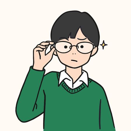 cute young boy lifted glasses up, hand drawn style vector illustration.