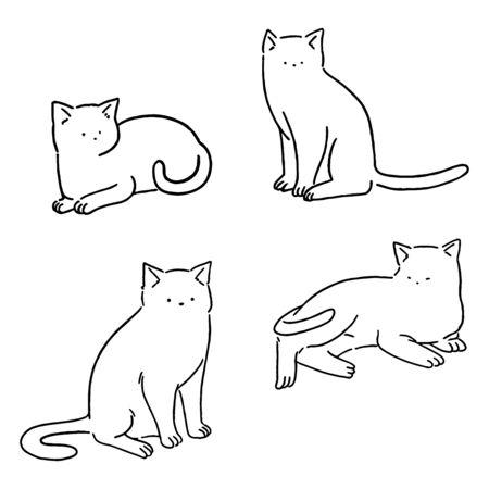 Minimal line cats set, cute cats doodle, hand drawn style vector illustration. Çizim