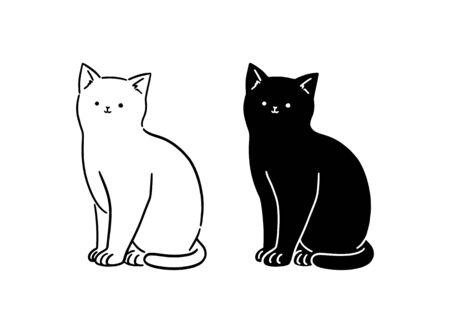 Cute White & Black Cat sitting, Line art, hand-drawn style vector illustration.
