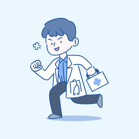 Medical, healthcare services concept, Doctor running with first aid box, hand-drawn style vector illustration. Çizim