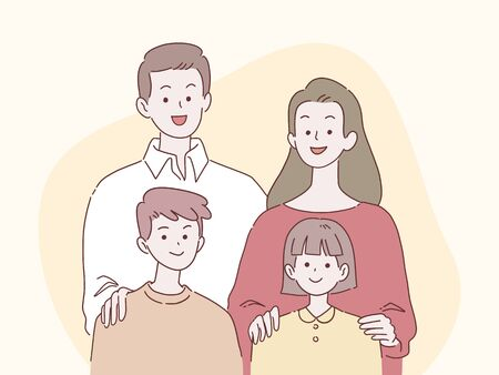 Happy parents and children smile together, family concept, hand-drawn style vector illustration.