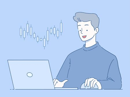Young businessman trading online on laptop, Online Stock Market Investment concept, hand-drawn style vector illustration.
