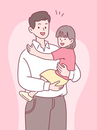 father holding daughter with a smile, happy spending time together, father's day concept, hand-drawn style vector illustration. Çizim