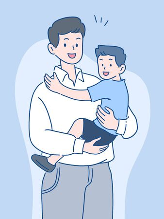 father holding son with a smile, happy spending time together, father's day concept, hand-drawn style vector illustration.