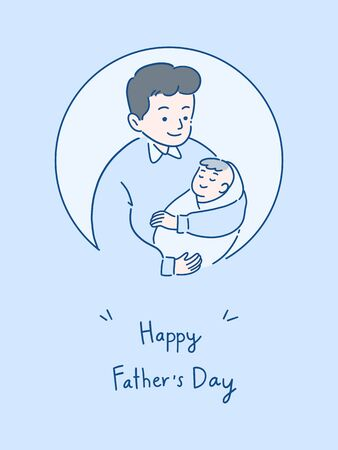 father holding baby with a smile, happy spending time together, father's day concept, hand-drawn style vector illustration. Çizim