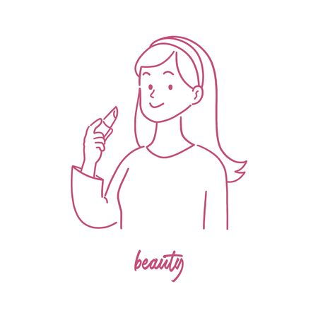 Beautiful young woman with lipstick, confidence expression, hand-drawn style vector illustration.