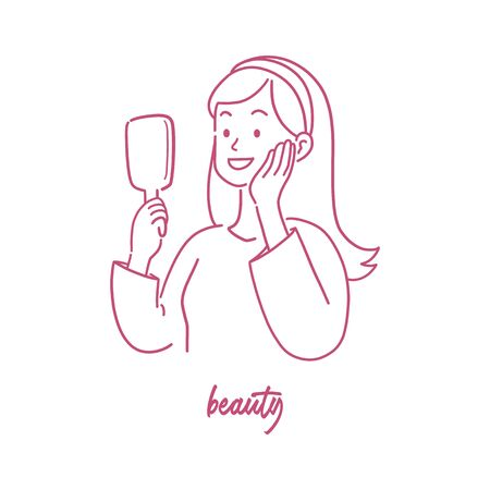 Beautiful woman looking at the mirror, amaze confidence expression, hand-drawn style vector illustration. Çizim