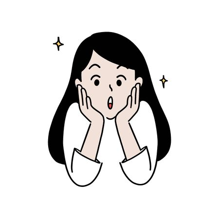 Happy woman surprised, amazed expression, hand-drawn style vector illustration.