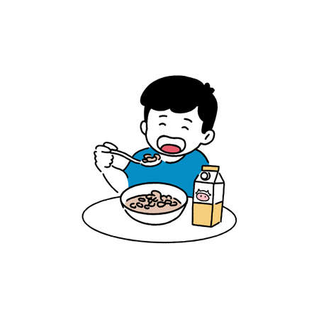 Happy boy eating cereal, breakfast concept, hand-drawn line art style vector illustration.