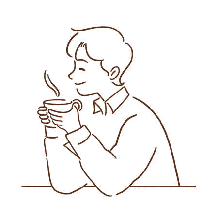Young man with a hot cup of coffee, hand-drawn line art style vector illustration.