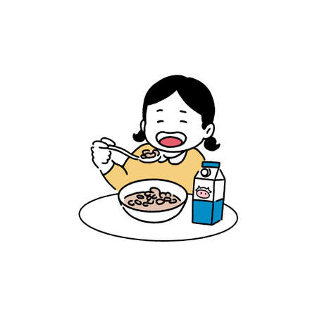Happy girl eating cereal, breakfast concept, hand-drawn line art style vector illustration.