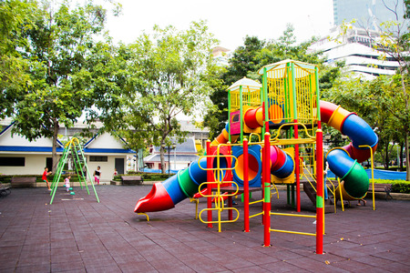 Colorful playground without children (playground, play, area)