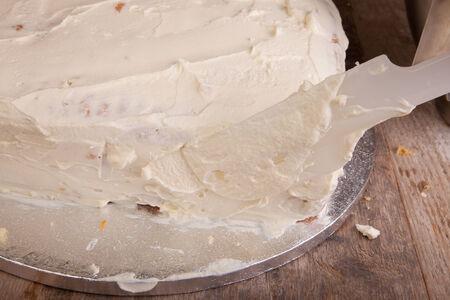 mascarpone: cake covered with mascarpone cheese cream Stock Photo