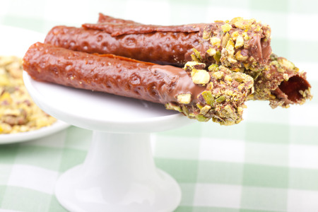 snaps: brandy snaps on the cupcake stand Stock Photo