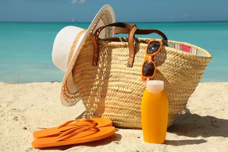 sun protection gear on the sunnny beach