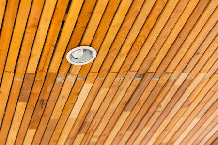 downlight: Wooden roof with downlight for  interior Stock Photo