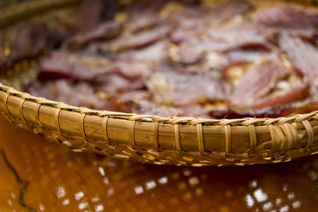 threshing: Sun dried beef on the threshing basket