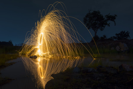 steel wool: Abstract from spinning steel wool  at night time