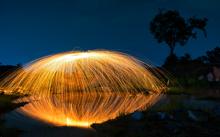 steel wool: Abstract background from spinning steel wool  at night time