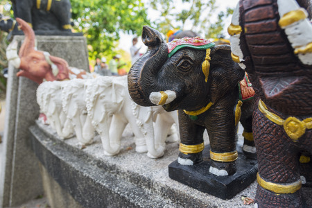 place of worship: Elephant sculpture to worship in the temple or the place for worship , thai style.