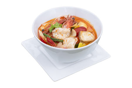 Tom yum Kung Popular cuisine of Thailand, on white background Stock Photo
