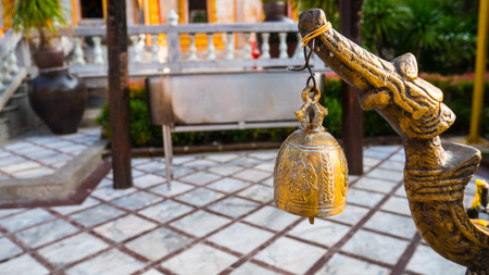 Temple bell in thai temple. Stock Photo