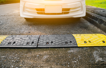Car with  road bumps for reduce speed.