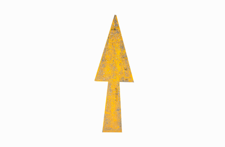 Yellow Arrow signs on the road on white background, Clipping - path.