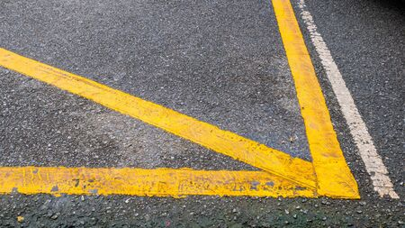 Yellow line for trafic on the road Stock Photo