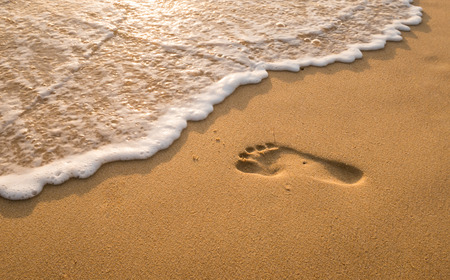 foot print: Bubbles waves and foot print on the beach  background.