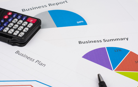 business report or Financial paper with r in business concept. Reklamní fotografie