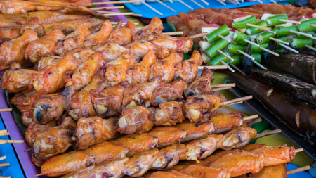Street food stalls selling seafood, grilled chicken, BBQ, there are many in the country, Phuket Thailand.