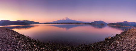 Panorama view of Mt Fuji in the early morning with reflection on the lake kawaguchiko