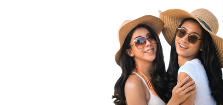 Lesbian couples  or close friends  are sweet and hug on white background in travel and holiday concept,clipping path