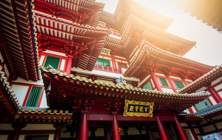 Buddha Tooth Relic at chinatown Singapore with sun light