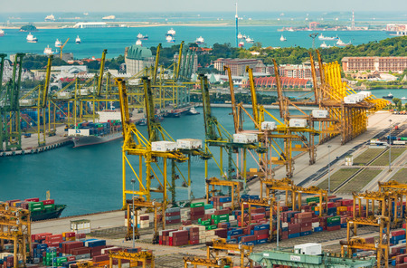 SINGAPORE MAR 2018 : Big cargo port in Singapore The center of the ship delivery in Southwest Asia. Every day a cargo ship is delivered to the destination Making business value in Singapore