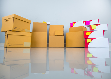 Group of many parcel package on the floor with reflection