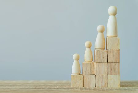 Banner Group of wood figure Standing in the hierarchy on wood stack in human resource management concepts Teamwork Success Leadership Business Progress, Competition on gray backgrond and copy space